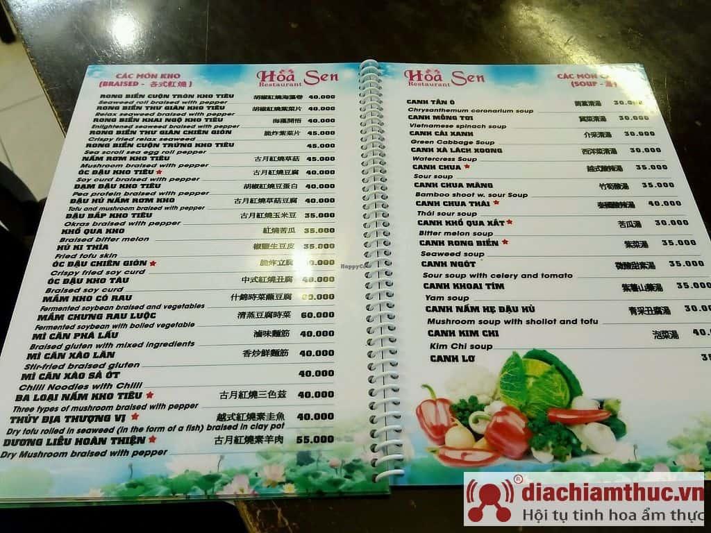 Menu Nhà hàng chay Hoa Sen