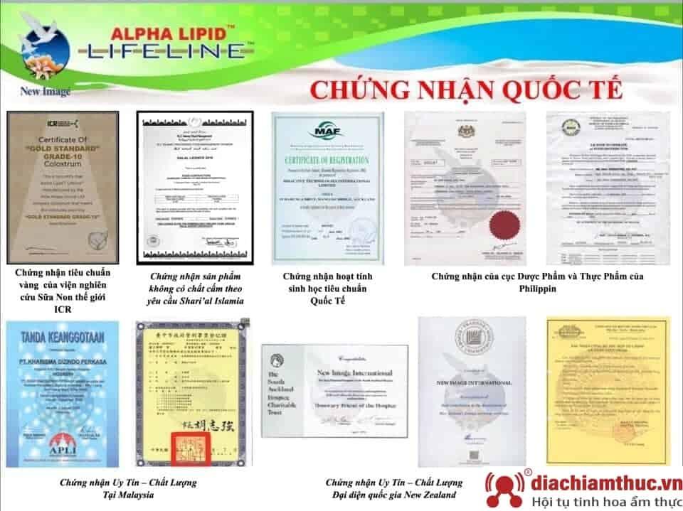 giấy chứng nhận của sữa non