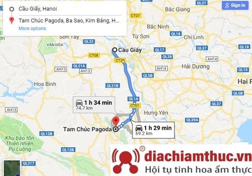 Đường đi chùa Tam Chúc