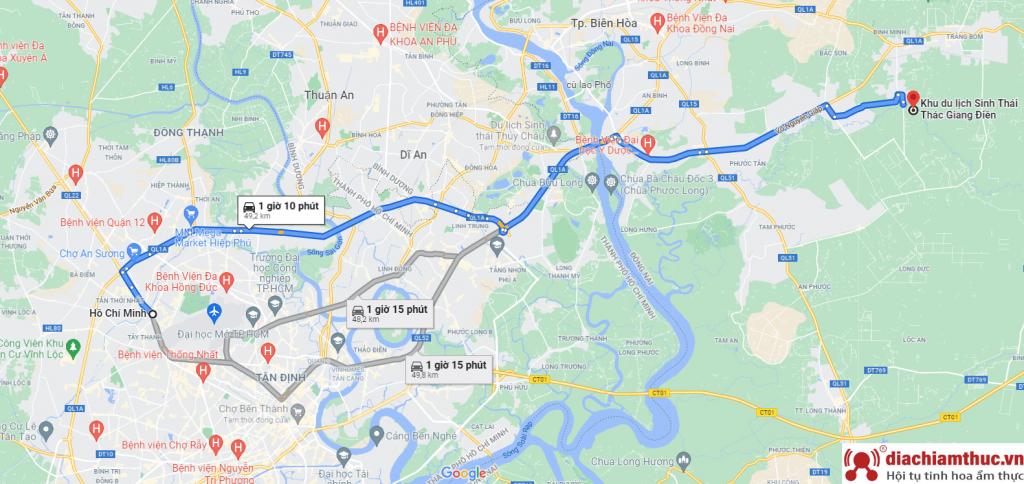 Đường đi đến KDL Giang Điền