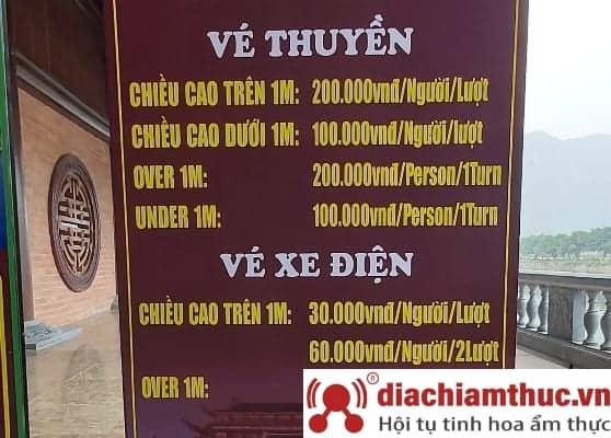 Giá vé thuyền, xe điện ở chùa Tam Chúc